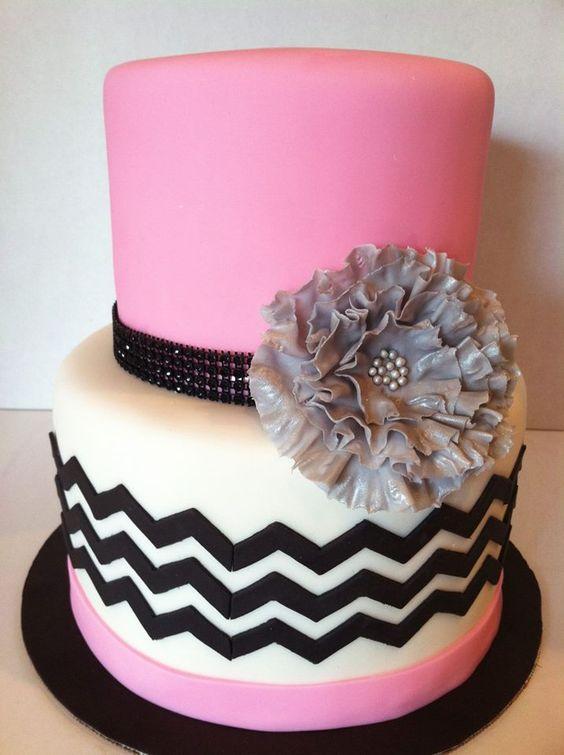 Elegant Black and Pink Birthday Cake