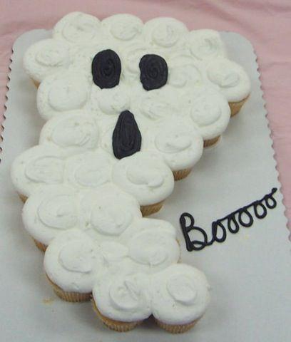 9 Photos of Ghost Template Halloween Cupcake Cakes