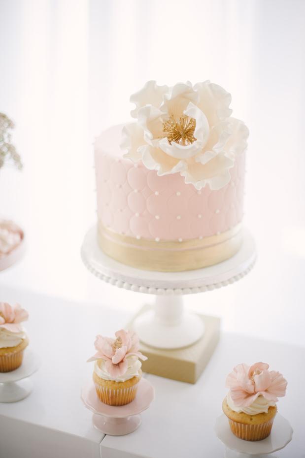 Gold and Blush Pink Wedding Cake