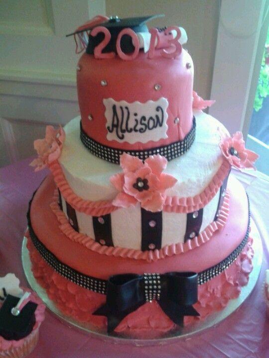 Graduation Cake Pink Black and White