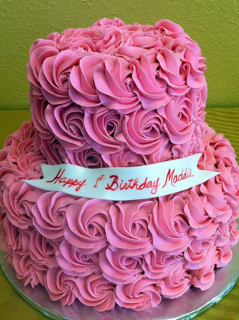 Happy Birthday Cake with Pink Roses
