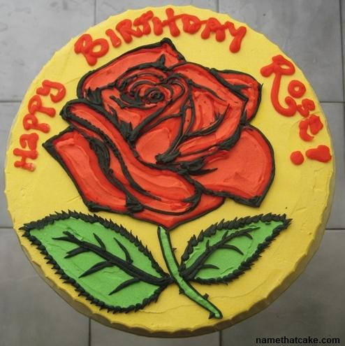 Happy Birthday Rose Cake with Name