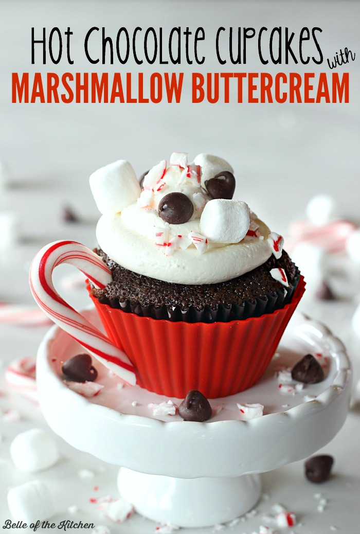 Hot Chocolate Cupcakes with Marshmallows