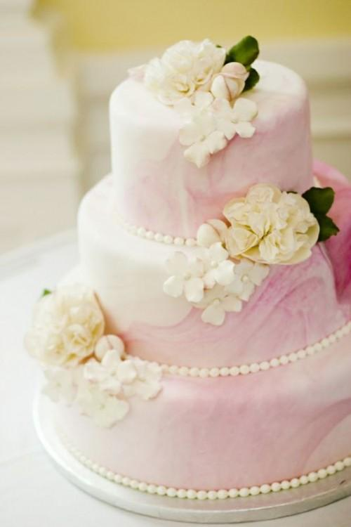 Light Pink and White Wedding Cake