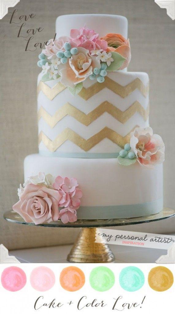 Pastel Color Wedding Cake