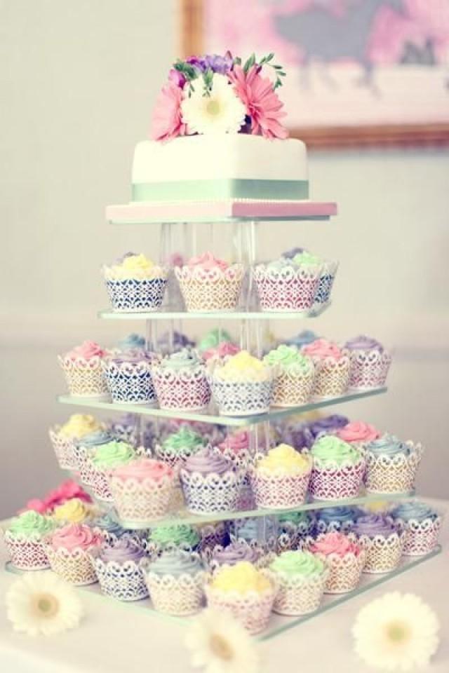 Pastel Wedding Cake Cupcake Towers