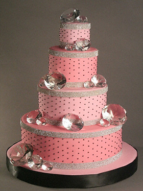 Pink and Silver Wedding Cake with Bling