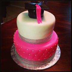 Pink Bling Graduation Cake