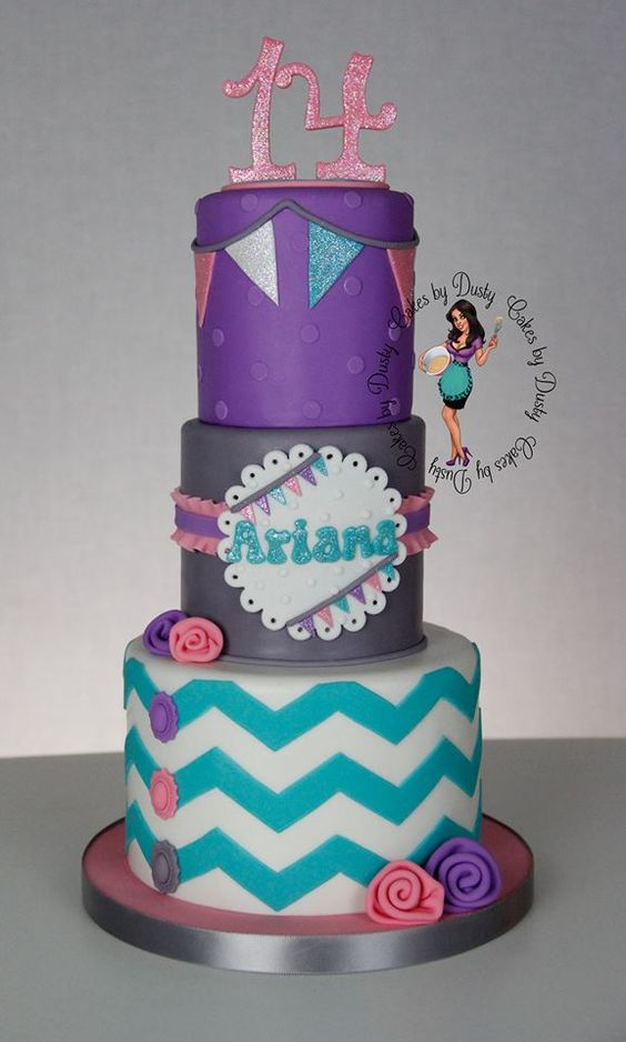 Pink Purple and Teal Birthday Cake