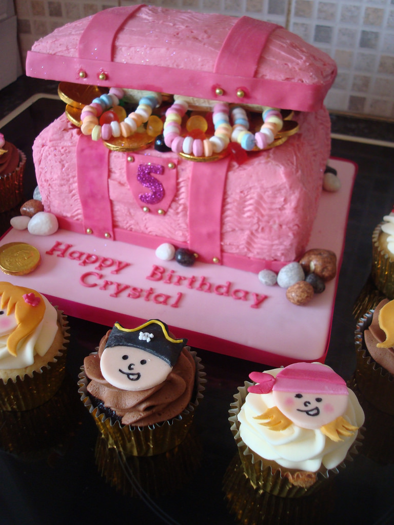 Pink Treasure Chest Cake