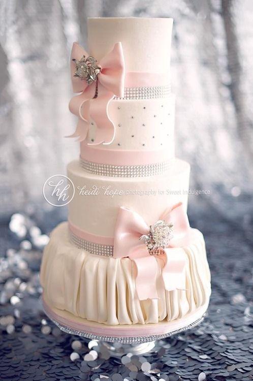 Pink Wedding Cake with Bling