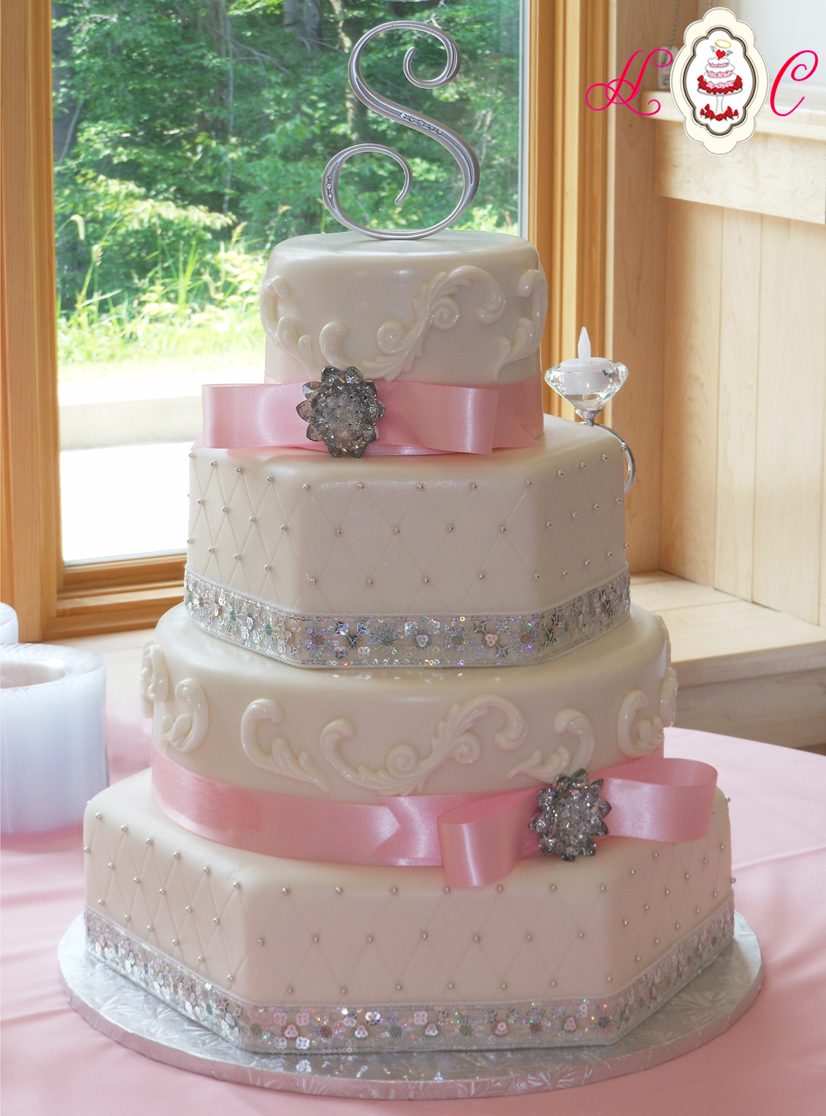 Pink White and Silver Wedding Cake
