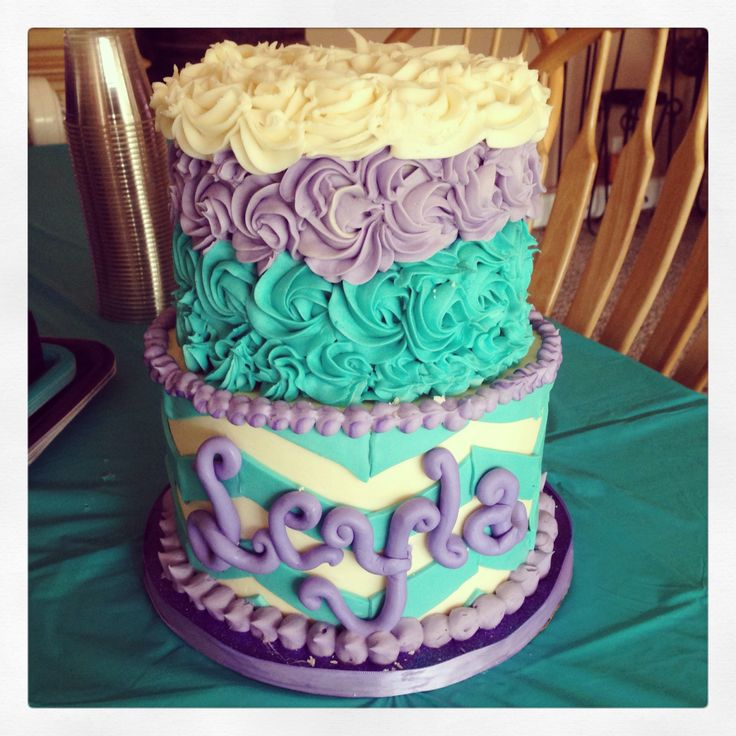Purple and Teal Baby Shower Cake