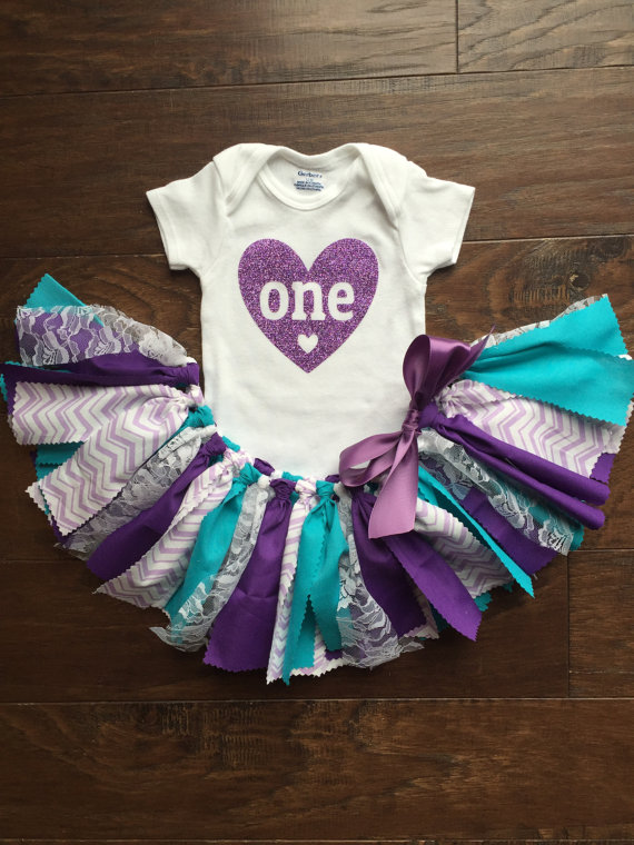 Purple and Teal First Birthday Outfit