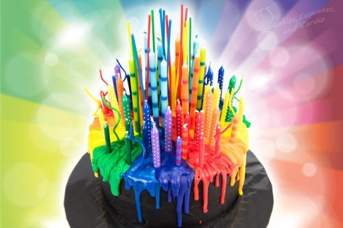 Rainbow Birthday Cake with Candles Melting