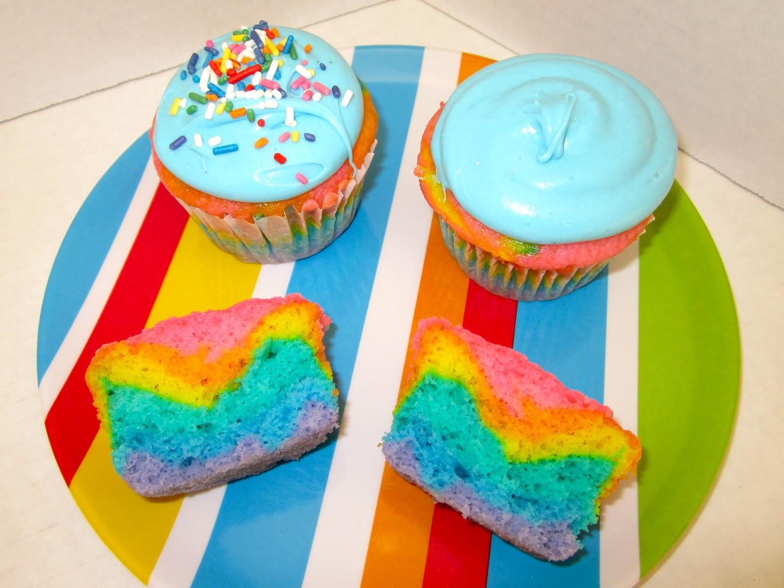 Rainbow Cotton Candy Cupcakes