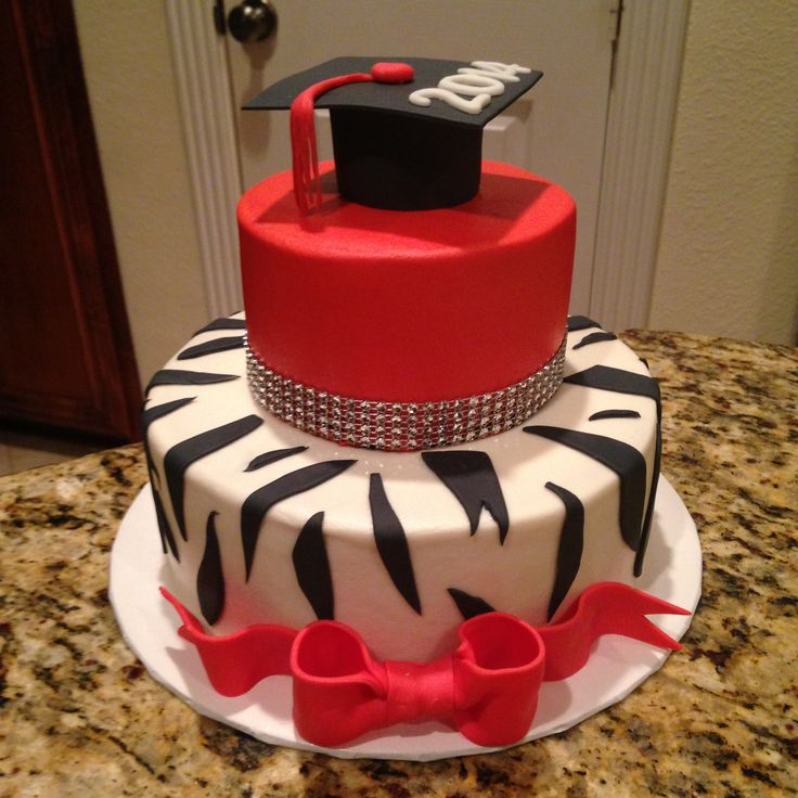 Red and Black Graduation Cake Buttercream