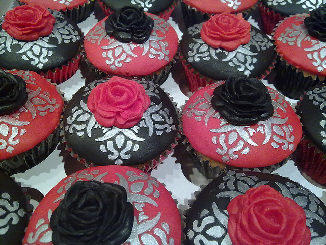 Red Black and Silver Cupcakes