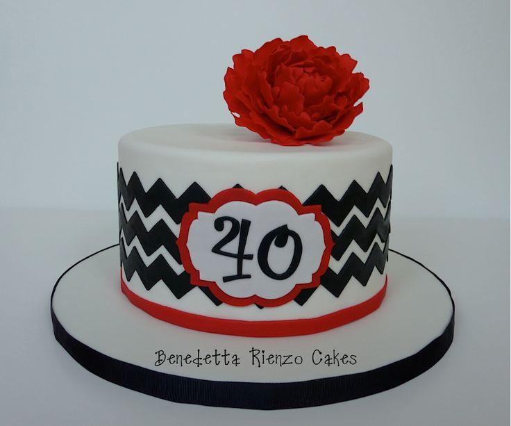 Red White and Black Birthday Cake