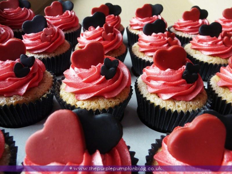 Red White and Black Wedding Cupcake
