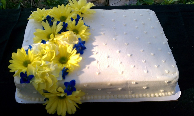 Sheet Cake with Fresh Flowers