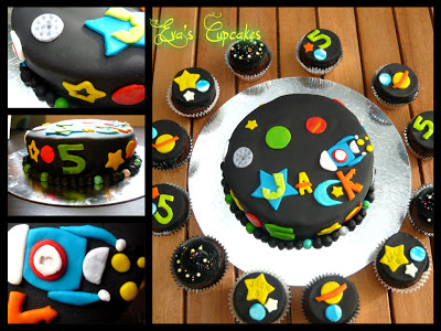 Space Themed Cake and Cupcakes