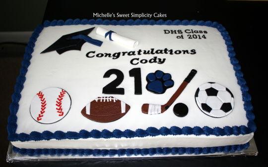 Sports-Themed Graduation Cake