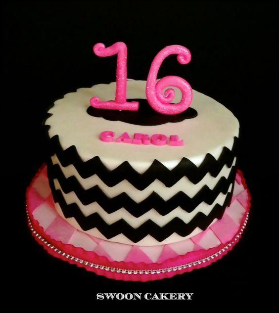 Sweet 16 Chevron Birthday Cake