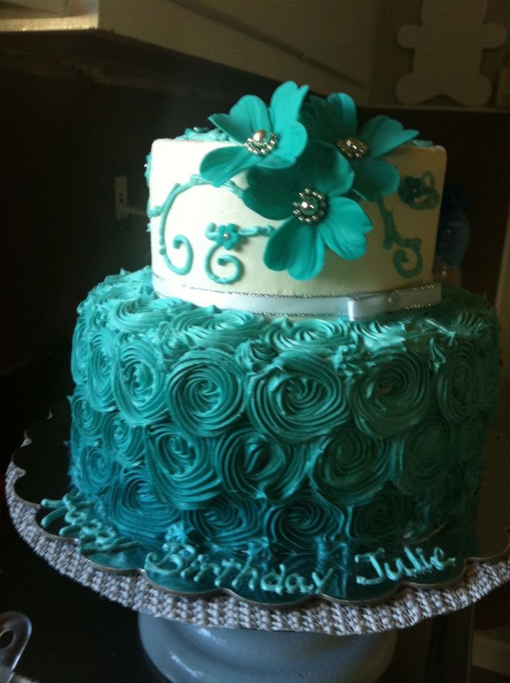Teal and Green Birthday Cake