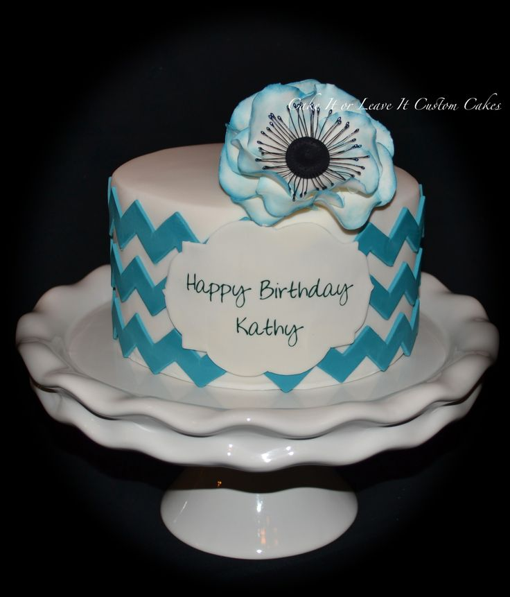 Teal Chevron Birthday Cake