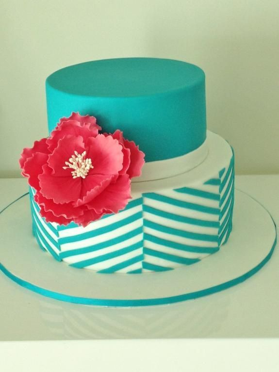 Teal Chevron Cake