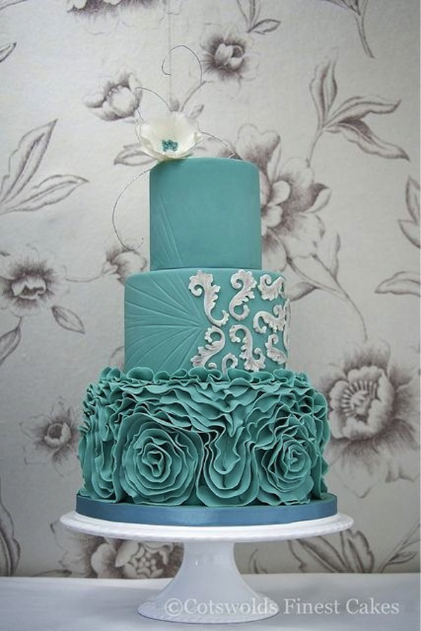 Teal Wedding Cake