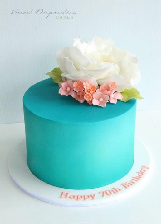Turquoise Birthday Cake with Flowers