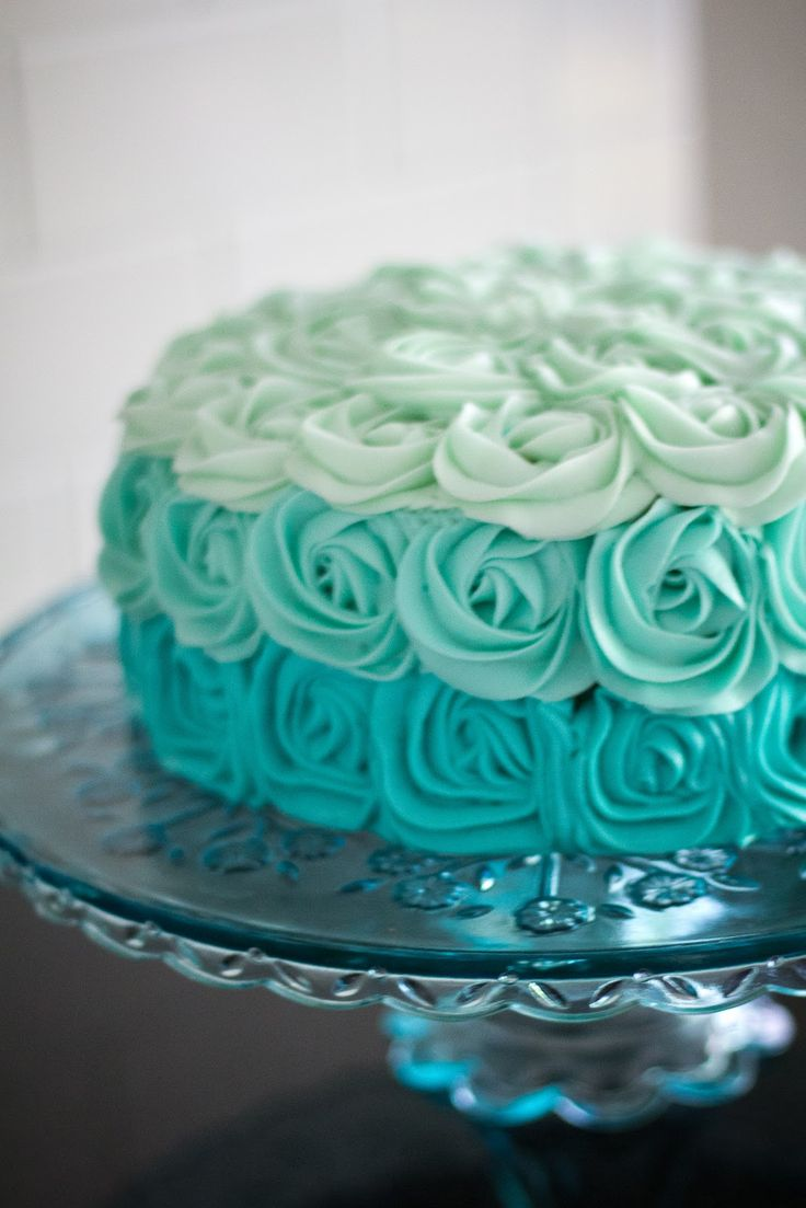 Turquoise Ombre Rose Cake