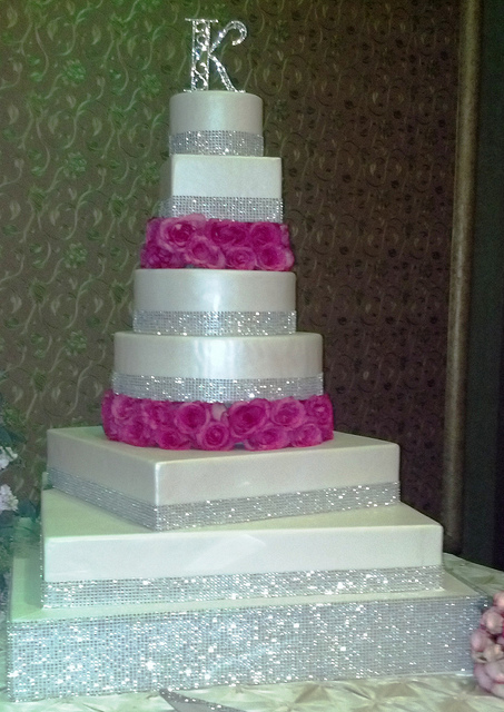 Wedding Cake with Bling and Roses