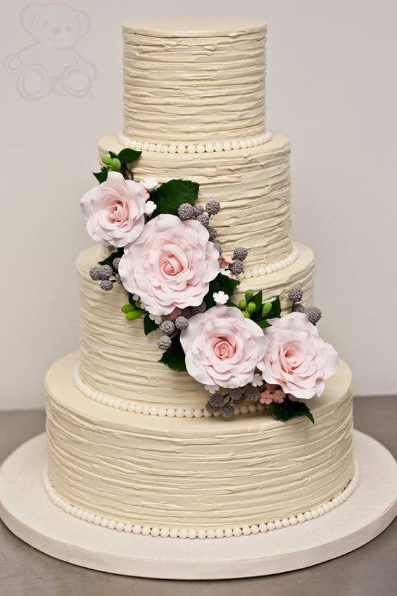 Wedding Cake with Buttercream Flowers