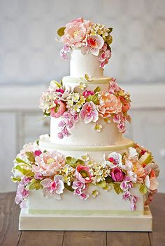 Wedding Cake with Fondant Flowers