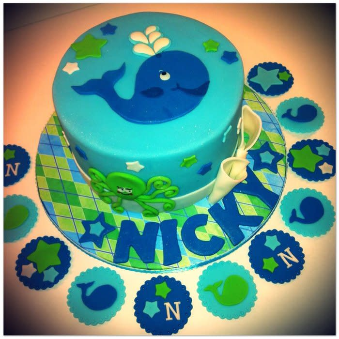 Whale Themed Baby Shower Cake