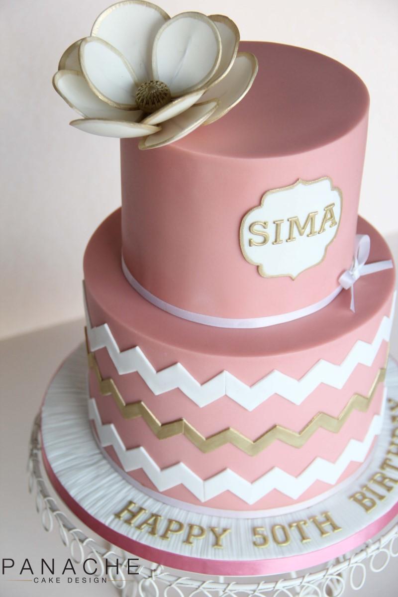 White and Gold 50th Birthday Cake
