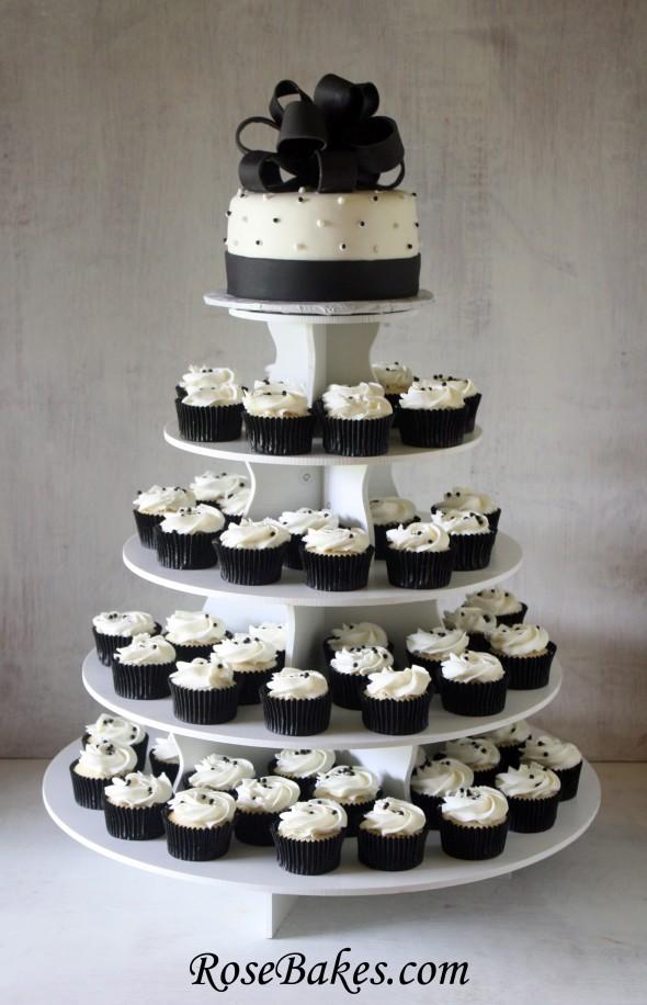 White Wedding Cake Cupcake Tower