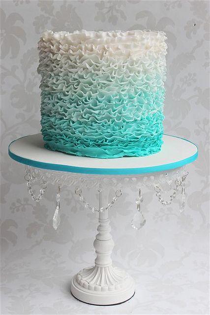 Aqua Ruffle Wedding Cake