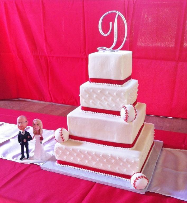 Baseball Theme Wedding Cake