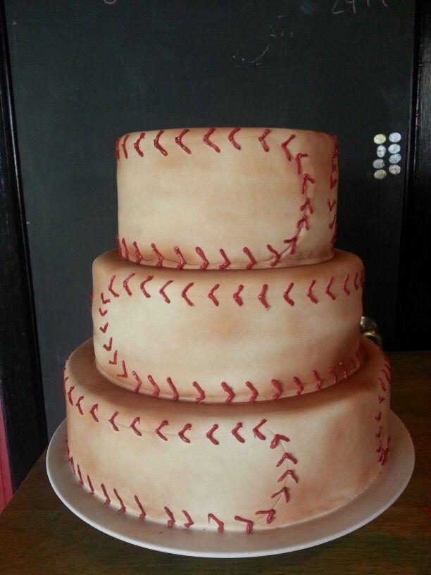 Baseball-Themed Wedding Cake