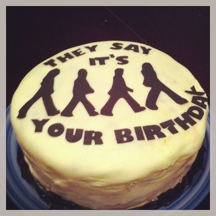 Beatles Black and White Birthday Cake