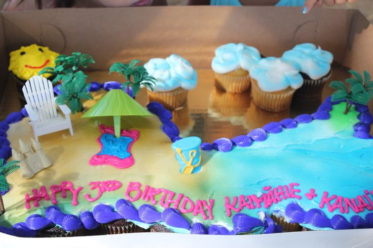 Birthday Sheet Cake Beach Scene