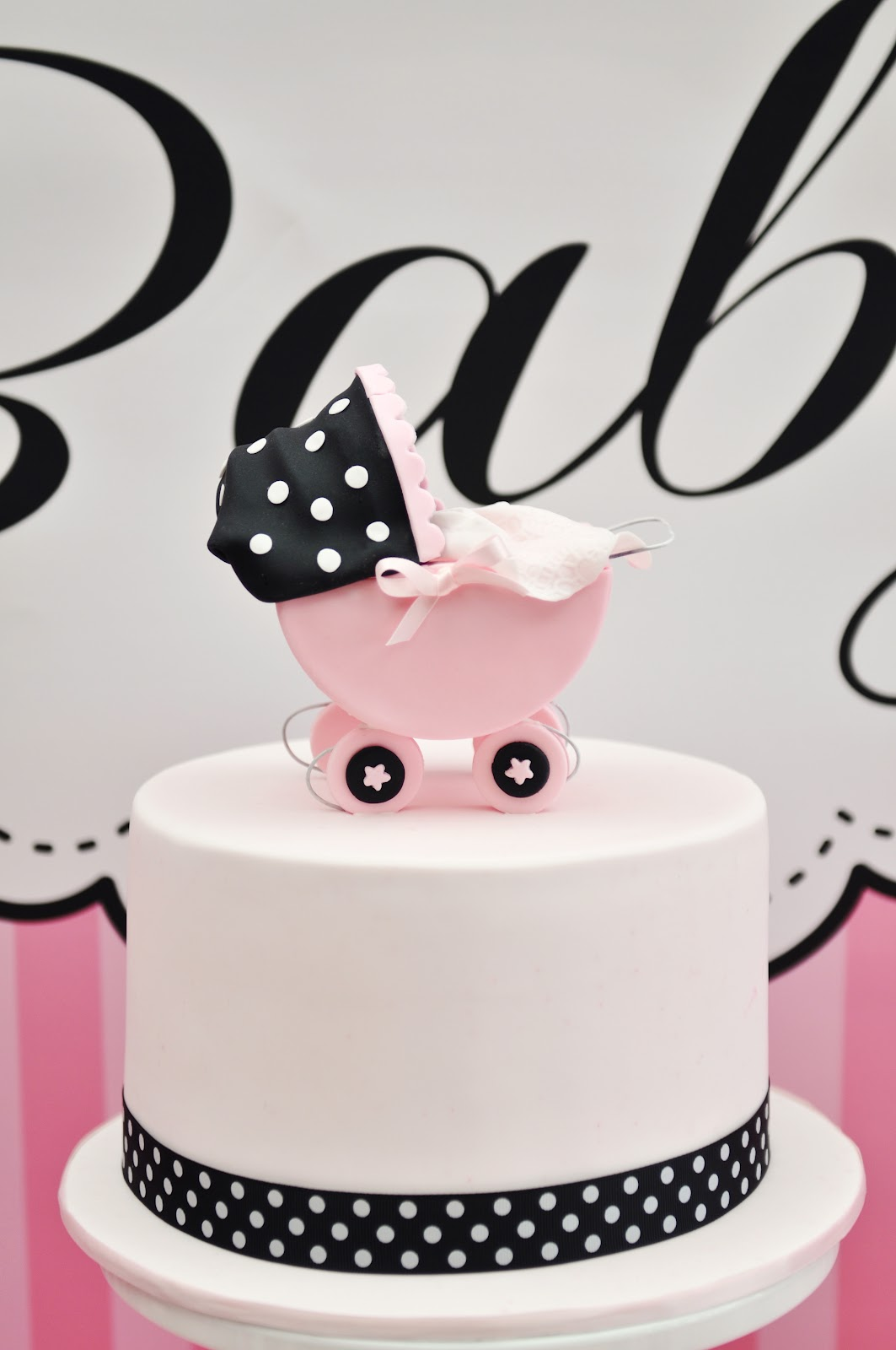 Black and Pink Baby Shower Cake