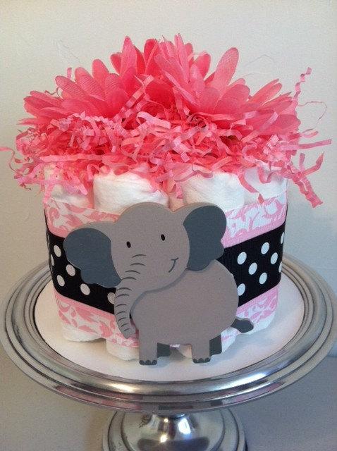 Black and White Polka Dot Pink Diaper Cake