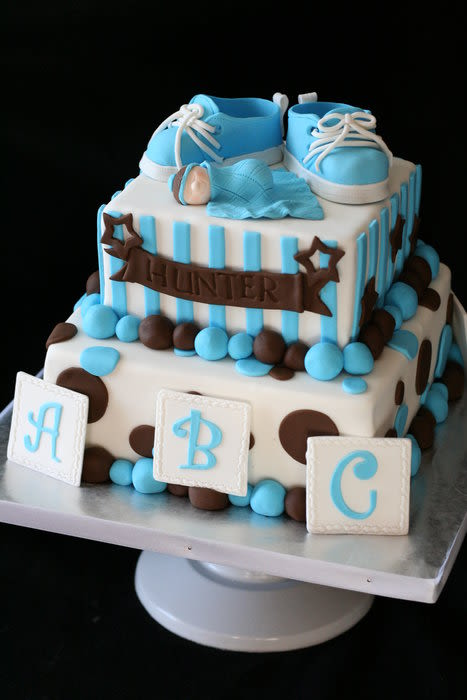 Blue White and Brown Baby Shower Cake