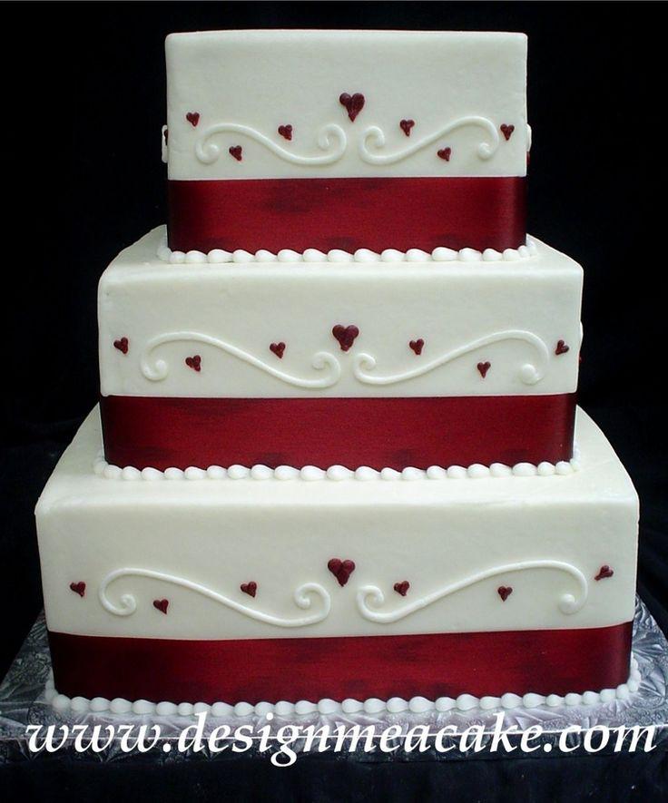 Burgundy Square Wedding Cakes