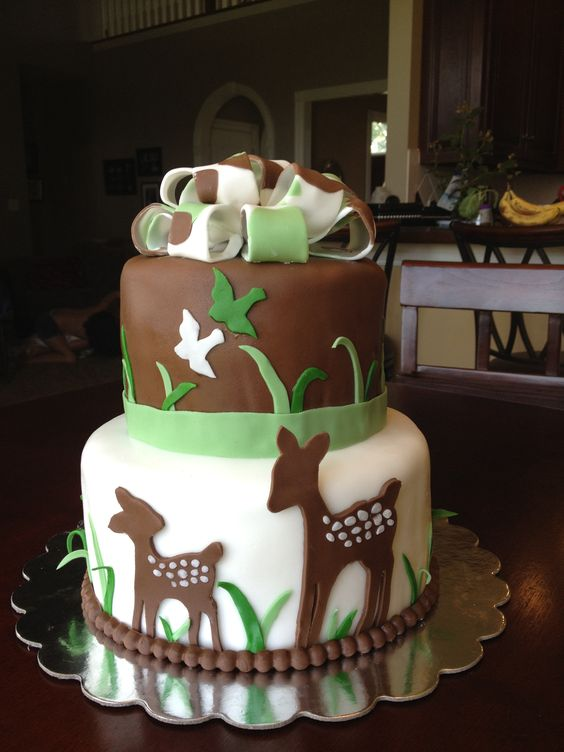 Camo Baby Shower Cake with Deer